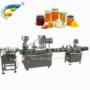 Automatic honey filling capping and labeling machine