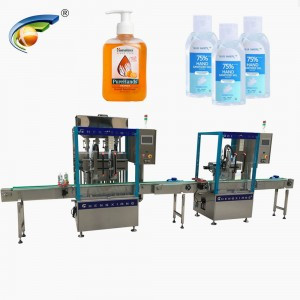 GMP Standard flat bottle hand sanitizer gel filling capping machine,500ml hand sanitizer filler capper