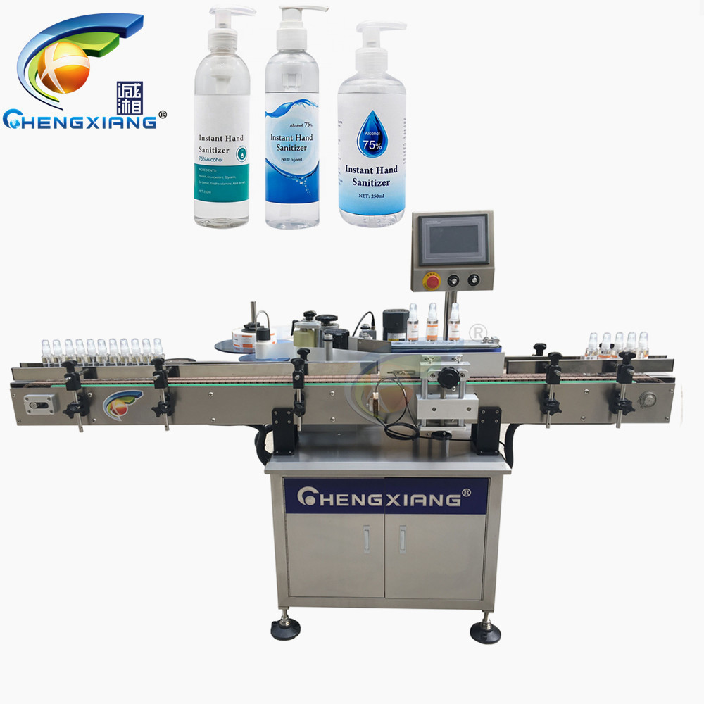 In stock Vertical Round Bottle Labeling Machine,1000ml hand sanitizer labeling machine Featured Image